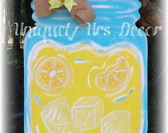 Mason Jar Door Hanger, Summer Door Hanger, Lemonade Door Hanger, Door Hanger