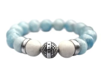 Bracelet Supreme Luxury B12 for ladies – Blue – aquamarine – oxidized Sterling Silver 635