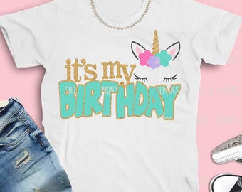 Unicorn svg, unicorn, birthday unicorn svg, 2 colors, Birthday girl, SVG, DXF, birthday svg, girl's svg, printable, iron on, transfer