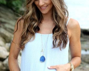 Druzy Necklace, Long Druzy Necklace, Boho Necklace, Stone Necklace, Statement Necklace, Long Layering Necklace, Boho Jewelry