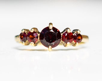 Beautiful Antique Bohemian Garnet Ring Victorian Style Heirloom Gold Over 925 Silver