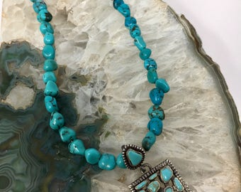 Beaded Sterling Necklace with Sterling and Turquoise Pendant