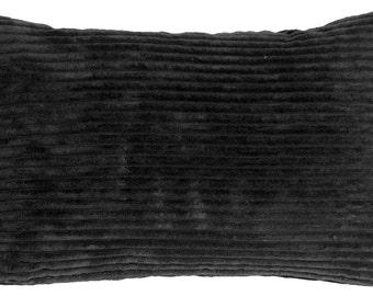 Wide Wale Corduroy 12x20 Black Throw Pillow