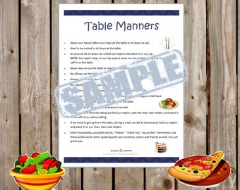Printable Table Manners for all ages - INSTANT PDF DOWNLOAD - Dining Etiquette and Manners review