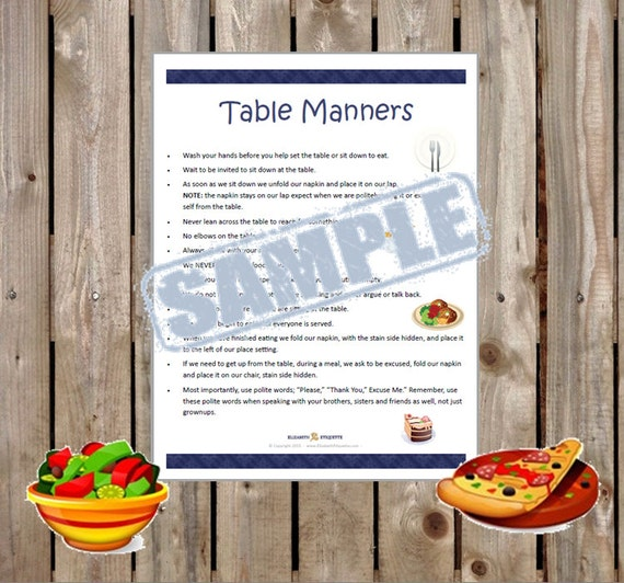 Printable Table Manners For All Ages