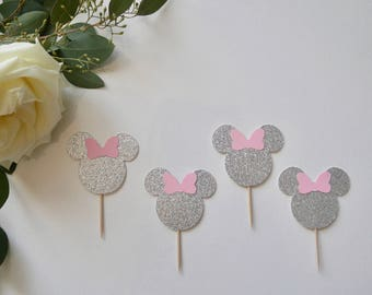Silver Minnie Mouse  Cupcake Toppers (12)