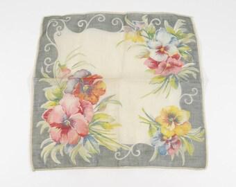 Vintage Handkerchieft Pansies 1940s Hankie Remembrance Remember Me