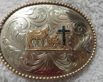 Praying Cowboy Belt Buckle Inlaid Turquoise Hand Engraved Nickel Silver 1 1/2""