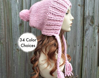 Blossom Pink Slouchy Hat Pink Knit Hat Womens Hat Pink Hat Pink Beanie - Charlotte Slouchy Knit Hat Ear Flap Hat - 34 Color Choices