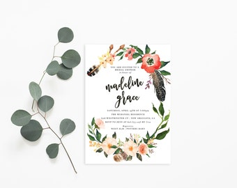 Printable Bridal Shower Invitation /  Shower Invite, Boho Invitation, Wedding Shower, Madeline