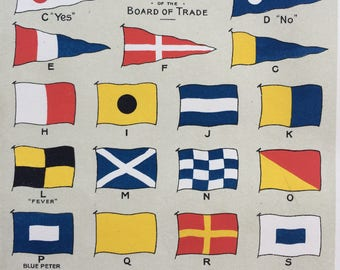 1900 International Code of Signals for the Year 1901 Original Antique Lithograph - Mounted and Matted - 10 x 12 inches -  Code Flags