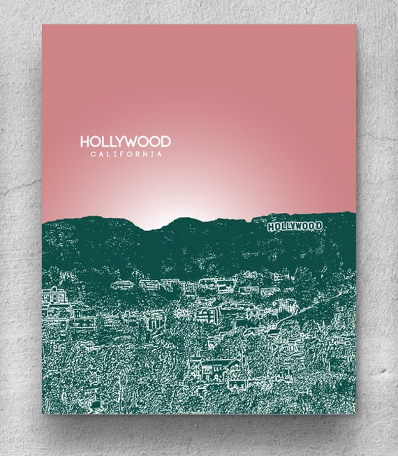 Hollywood California Skyline / Living Room Art / Home Decor