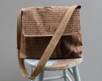 Ginger Brown Messenger Bag - Black Bird Fabric - Adjustable Strap - Hand Printed