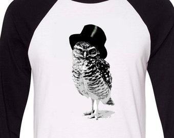 Hoot Top Hat Owl, Sport-tek Black Raglan Longsleeve or White T-Shirt