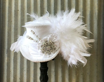 Mini Top Hat, Bridal Mini Top Hat, All White Steampunk Wedding, Alice in Wonderland, Pure White, Diner en Blanc, Tea Party, Mad Hatter hat