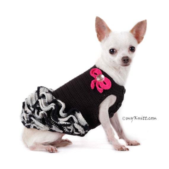 Schwarz und weiß Hundekleid häkeln Rüschen Kleid Chihuahua