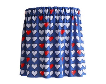8bit pixel hearts skirt with elastic waistband - made to size/order