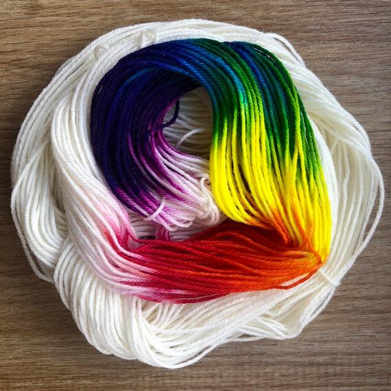 Unicorn Rainbow 20g Miniskein, indie dyed merino nylon blend sock yarn