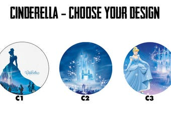 """CINDERELLA 2.25"""" Button Style Pins, Mirrors, Magnets, Bottle Openers & Keychains"""
