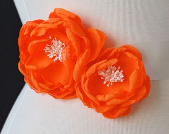 Wedding Gown Orange Sash Flowers, Bridesmaid Hair Clips, Wedding Hair Piece - Sash Accessories In Neon Orange Chiffon
