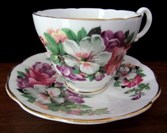 Crownford Fine Bone China Floral Teacup And Saucer. Made in England