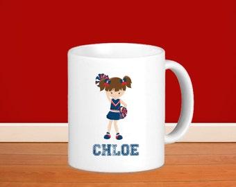 Cheerleader Kids Personalized Mug -Cheerleader Girl with Name, Child Personalized Ceramic or Poly Mug Gift