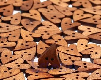 Dark brown wooden hearts x 30