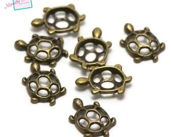 """20 connectors """"turtle 19 x 12 x 3 mm"""", bronze"""