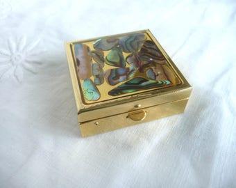 Vintage pill box - abalone trinket box - mid century abalone pill box - 1960s shell pill box - 1960s abalone pill box