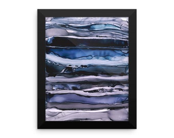 Dark Stormy Blue Alcohol Ink Painting Framed photo paper poster - Housewarming Gift, Home Decor