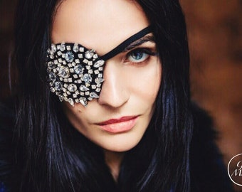 Crystal Pirate Eye Patch, Halloween Mask