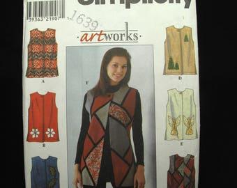 Simplicity Vest Patterns Artworks Uncut Sewing Retro Hippie Boho Wearable Art Large XL