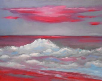 Red painting -Oil on paper-Oil Realistic on paper-Oil Painting-Sea  painting-Super realistic painting-Sea and sky painting-Original painting