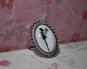 """""""Little black dress"""" inspired charm ring"""