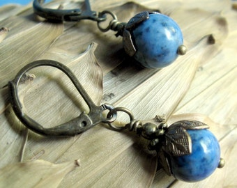 Interesting Blue Gemstone Earrings, Gift for Her Jewelry