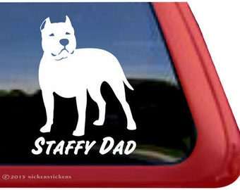 Staffy Dad | DC827DAD | High Quality Adhesive Vinyl Staffordshire Bull Terrier Window Decal Sticker
