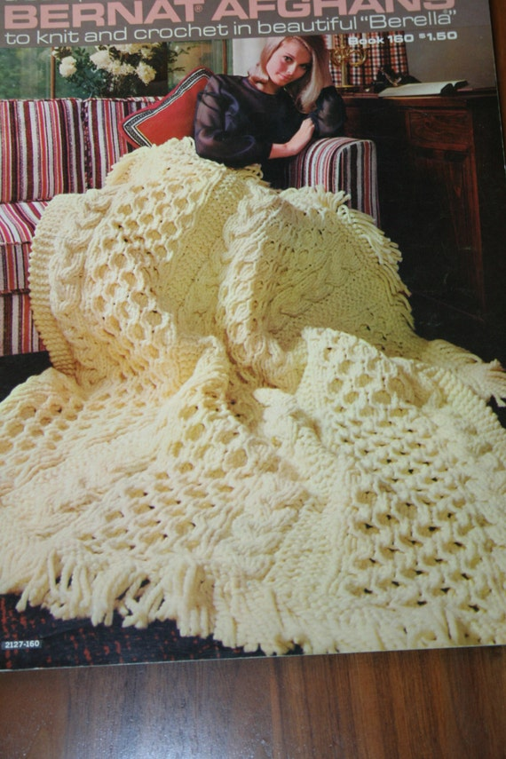 Afghan Knitting Patterns Crochet Blankets Bernat Afghans 160 Throw