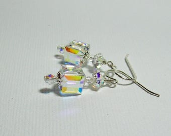 Swarovski Crystal Earrings. Sterling Silver Swarovski Earrings. Dressy. Sparkly. Swarovski Dangle Earrings.