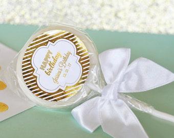 24 Personalized Metallic Foil Lollipop Favors - Birthday