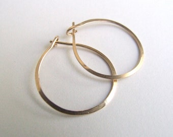 "Gold Hoops - small hoop earrings gold-filled simple classic minimalist basic lightly hammered yellow rose 3/4"" 1"" (18mm 20mm 24mm) bail Gift"