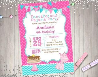 Pancakes and Pajamas Birthday Party Invitation Invite Pancake Party Invitation Printable Pancake and Pj's Party Invitation