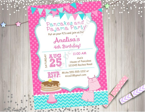 Pancakes and pajamas birthday party invitation invite pancake like this item filmwisefo Gallery