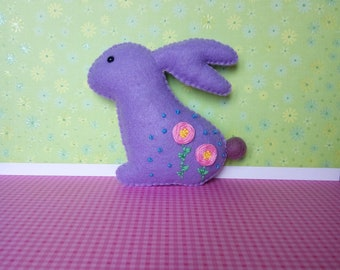 Felt Easter bunny, embroidered, lilac, basket filler, ornament, housewarming gift, spring decoration, Easter present, stuffed animal, rabbit