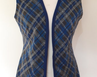 Vintage 70s waistcoat vest navy with silver thread plaid tartan size large
