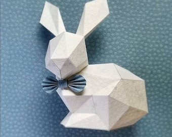 Paper Bunny, papercraft template, pdf, diy gift,  3D papercraft bunny, low poly, printable pdf template, origami bunny