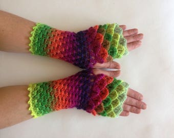 Dragon scale gloves, arm warmer gloves, dragon wrist warmers, mermaid gloves, long dragon gloves, fingerless gloves, wristwarmers