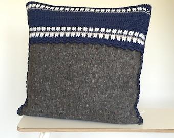 SALE, handmade crocheted pillow, repurposed blanket with cotton crochet