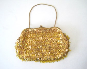 Vintage Gold Beaded Evening Bag Sparkle 1950s Purse with Sequins by La Regale Ltd - Mid Century Purse