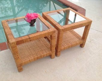 "WOVEN RATTAN Side Tables / Hollywood Regency /17 3/4""x 17 3/4"" x 16"" tall / Billy Baldwin Style / Coastal Cottage Style at Retro Daisy Girl"