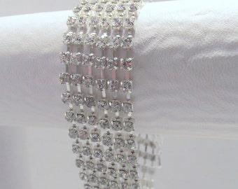 Rhinestone Crystal Bracelet, Crystal Cuff, Rhinestone Cuff, Multi Strand Rhinestone Bracelet, Wedding, Bride, Rhinestone, Crystal, Silver